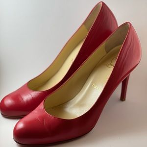 Christina Louboutin Red Leather Simple Pumps